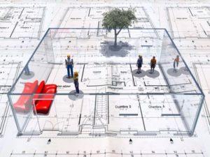 aménagement espace de travail en 3D
